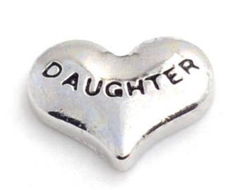 Daughter Heart Floating Charm for Glass Memory Locket FC28 - 1 Charm