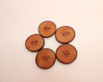 Set of 10 cherry wooden buttons | 1 - 1.4 "