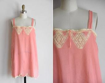 30s Sheer Secrets teddy/ vintage 1920s lace teddy / vintage coral cotton onsie