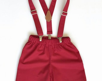 Red Boy's set,Suspenders Bow Tie Set,Infants suit, Red shortalls, summer outfit, ring bearer, ring-bearer, shorts, suspenders