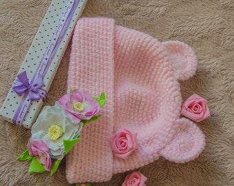 Spring hat Children's hat Pink hat Hat for a girl Stylish hat For babies at with ears