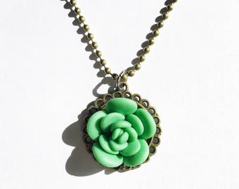 Cute Emerald Green Succulent Necklace