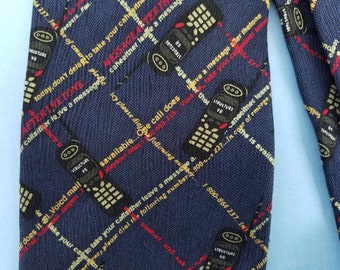 Vintage Cell Phone novelty necktie dark blue with answering machine texts creating a plaid pattern tie by Structure brand
