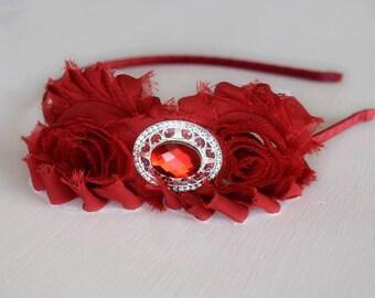 Red Headband - Maroon Headband - Vintage Style Headband - Hair Accessories - Hair Jewelry - Red and Gold Headband - Victorian Headband