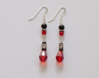 Silver Filled, Black and Red Crystal Earrings
