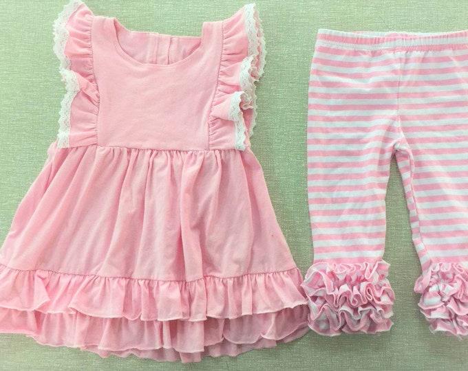 Featured listing image: Beth Pinafore Dress Set Little Girl  Boutique Clothes Flutter Sleeve Dress Toddler Girls Soft Cotton Dress Spring Ruffle Capris
