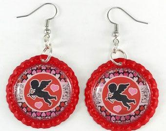 Cupid Earrings, Valentine Earrings, Valentine Jewelry, Valentine's Day, Bottle Cap Earrings, Gift for Her, Valentine Gift
