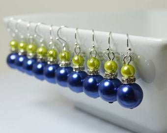 Apple Green and Blue Pearl Dangle Earrings, Pearl Earrings, Blue and Green Wedding, Pearl Bridesmaids Earrings, Lime Green & Blue Earrings