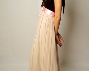Vintage 50's Belle dress - pink - red- velvet- chiffon- evening gown