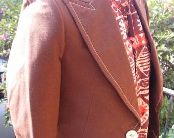 1970s chocolate brown, slim line, reverse stitch jacket - Sz S