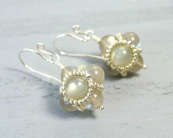 Labradorite Dangle Earrings Iridescent Earrings Sterling Silver Beaded Jewelry Unique Handmade Gift for Her Gemstone Drop Earrings Boho Gift