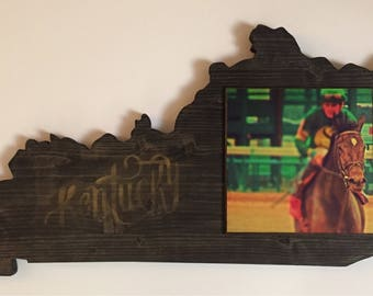 Derby Horse and Jockey Kentucky Shape Wooden Art
