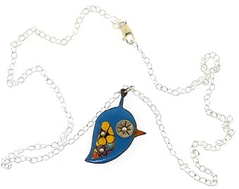 Mid Century Modern Inspired Vintage Style Glass Enamel Blue Bird Pendant Necklace with Vintage Tin and Sterling Silver Accents