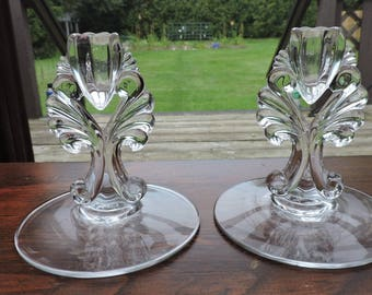 Pair of New Martinsville JANICE Candle Holders