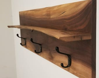 Wall Mount Coat Hanger and Shelf in Live Edge Black Walnut