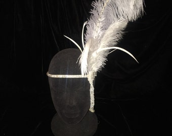 White Crystal 1920's Flapper Headpiece. Burlesque Great Gatsby Roaring 20's Costume