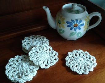 Drink Coasters, Crochet Coasters, Set of 6, Assorted Colors, Ready to be Shipped, Handmade, Country Goods