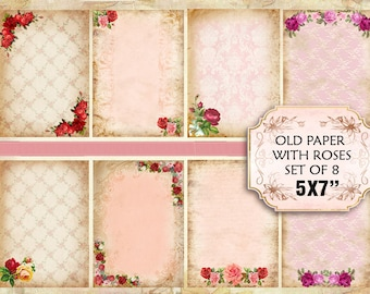 Old paper Vintage with roses Shabby chic paper Scrapbook Decoupage 5x7 inch (375) set of 4 sheets