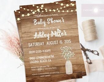 Rustic Baby Shower Invite, Mason Jar Invite, Babyu0027s Breath Invite, Rustic  Baby Shower