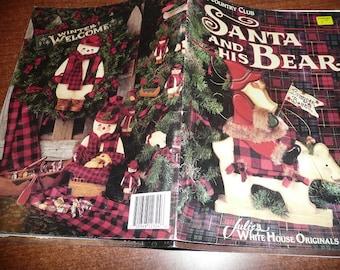 Vintage Santa And His Bear Painting Book
