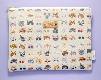 Personalized Clutch, Monogram Pouch, Gift for Cat Lady, Cat Lover Zipper Pouch, Personalized Travel Pouch, Cat Lady Pouch, Quirky Cats Pouch