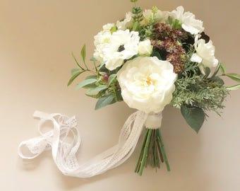 Green & White Wedding Bouquet, Woodland Bouquet, Natural Wedding, Greenery Wedding, Faux Bridal Bouquet, Succulent Bouquet, Spring Wedding