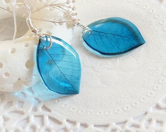 Leaves earrings for Womens gift for new mom gift Blue earrings Woodland jewelry Nature lover gift for her botanical jewelry Unusual gift