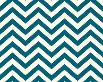 Teal Skinny Chevron From Birch Organic Fabric's Mod Basics 2 Collection