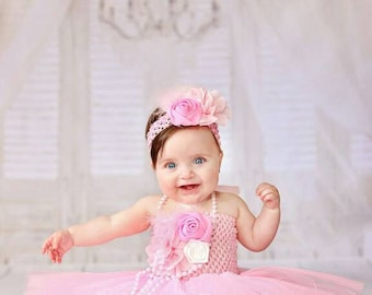 Baby Tutu Dress, Pink Baby Dress, Baby Flower Dress, Flower Girl Dress, First Birthday Dress, Birthday Clothing, Sweetest in Pink Baby Tutu