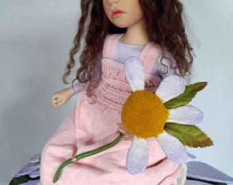 "OOAK artist doll, ""He Loves Me, He Loves Me Not"", pixie, gnome by Lori Platt, The Pixie Knoll"