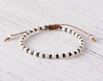 Natural Stone Bead Friendship Bracelet, Surf Beach Surfer Beaded White Black
