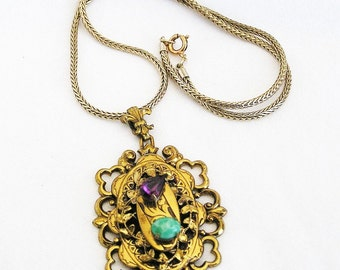 Czech Gold Tone Filigree Pendant Necklace
