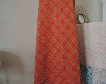 Vintage maxi tartan wool lurex skirt high waist A-line 1970s 70s