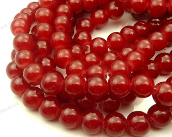 8mm Dark Red Round Glass Beads - Smooth, Shiny Beads - 25pcs - BN5