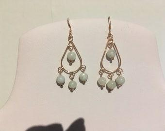 Rose Gold Vermeil Chandelier Teardrop Earrings with Jadeite Beads and Vermeil Earring Wires