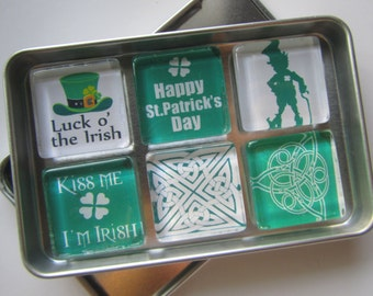 St. Patrick's Day Refrigerator Magnets, Fridge Magnets, Refrigerator Magnets, Saint Patrick's Day, Ireland, Magnets with Storage Tin