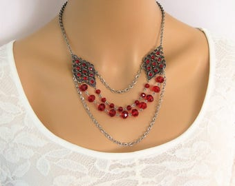 SALE Red Beaded Necklace, Beaded Necklaces, Multistrand Necklace, Multi Strand Necklaces, Statement Necklace, Bead Necklace, N875