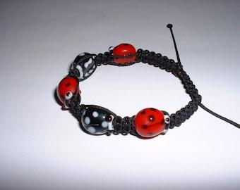 Bracelet Black Red Ladybug child inspired macrame