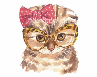 Kitten Watercolor Print - Cat Watercolour Painting, Scottish Fold Cat, Retro Glasses, Cute Kitten