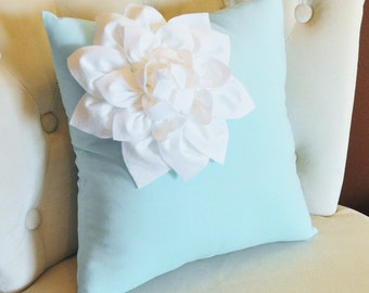 Living Room Pillow Rose Pillow Aqua Blue Pillows