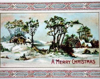 P-101 Vintage P. Sander's Snowy Christmas Scene Postcard