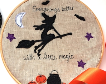 Magic Halloween embroidered decorative hanging hoop