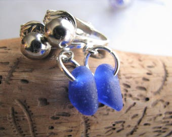 Cobalt Blue Sterling Silver Clipon Earrings-Sea Glass Earrings-Sea Glass Jewelry-Beach Glass Jewelry- Sea Glass from Prince Edward Island