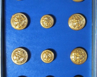 Military Brass Button Set-Complete-New in Box