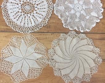 vintage doily lot, ECRU doilies, doily set, craft doilies, crochet doily lot, wedding table decor, unique doily, medium doily