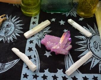 Purple aura clear quartz cluster