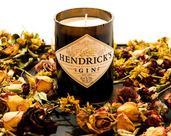 Find us on facebook *Rewaxed Candles* Freesia Scented Recycled Hendricks Gin Bottled Candle