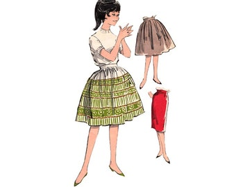 1960s Gathered Bouffant Skirt Pattern or Straight Skirt Waist 24 Advance 9736 Sew Easy Bishop Method Uncut Vintage Sewing Pattern