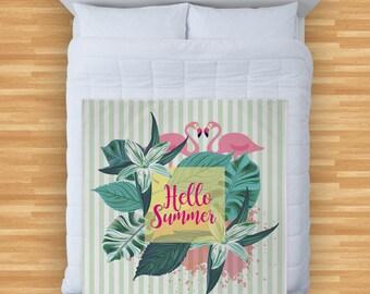Hello Summer Flamingo Green Stripes Design Soft Fleece Blanket Cover Throw Over Sofa Bed Blanket