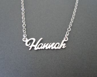 Personalized Mini White Gold Name Necklace - Custom Name Necklace - Name Jewelry - Baby Name -  Custom Name Gifts - Bridesmaid Gifts